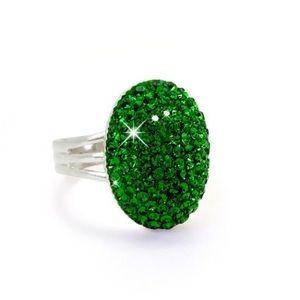 Handmade Dark Moss Green Swarovski Crystal Ring